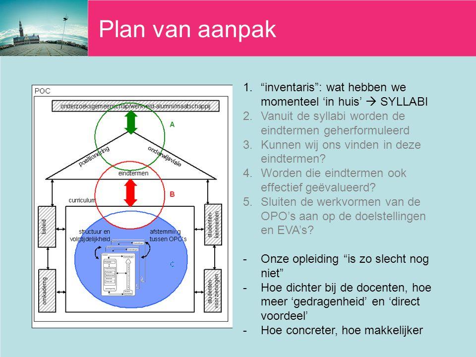 Plan van aanpak 1. inventaris : wat hebben we momenteel 'in huis'  SYLLABI 2.Vanuit de syllabi worden de eindtermen geherformuleerd 3.Kunnen wij ons vinden in deze eindtermen.