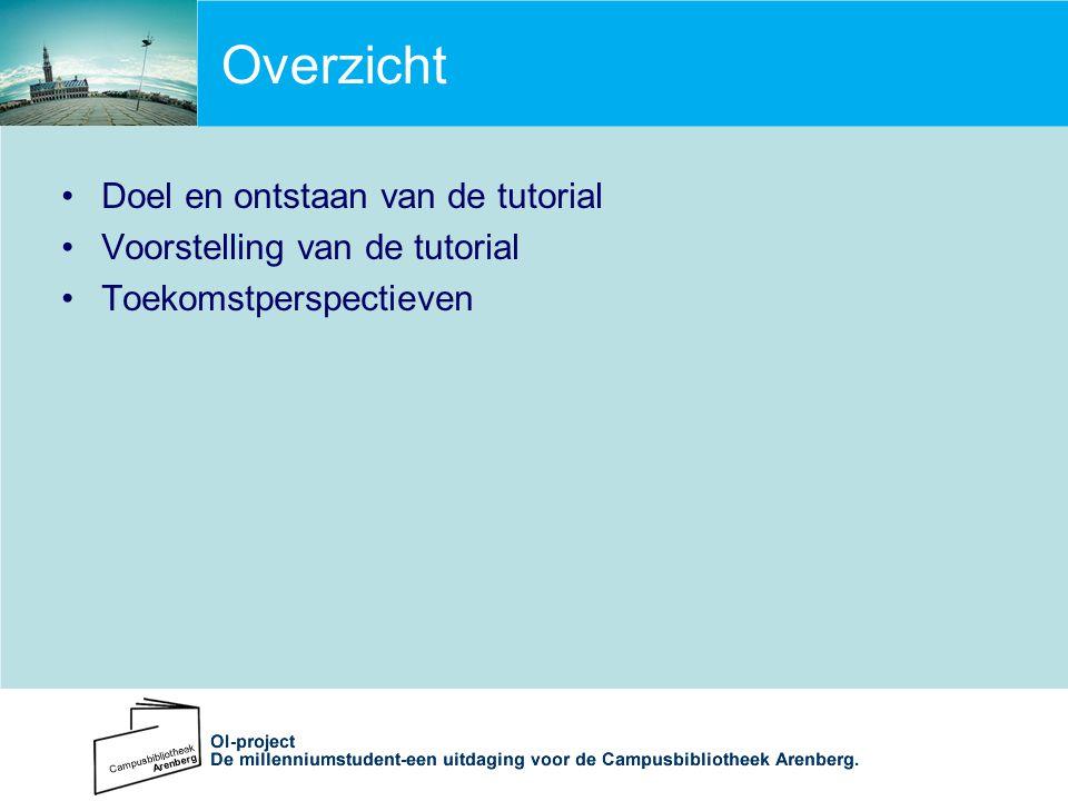 Overzicht Doel en ontstaan van de tutorial Voorstelling van de tutorial Toekomstperspectieven