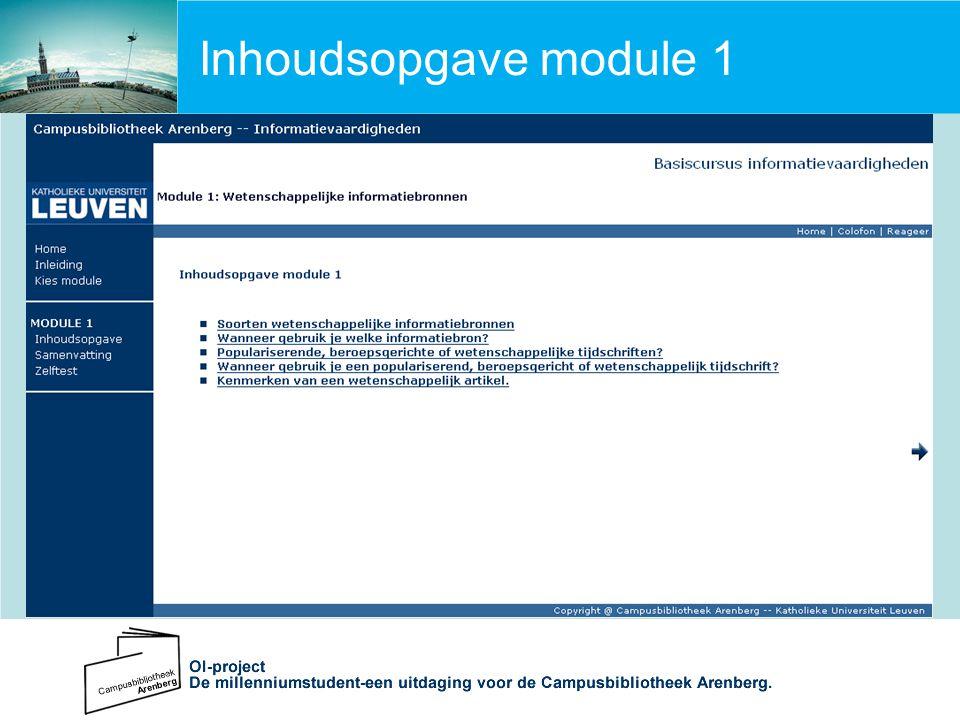 Inhoudsopgave module 1