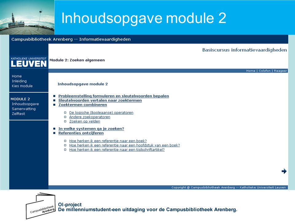 Inhoudsopgave module 2