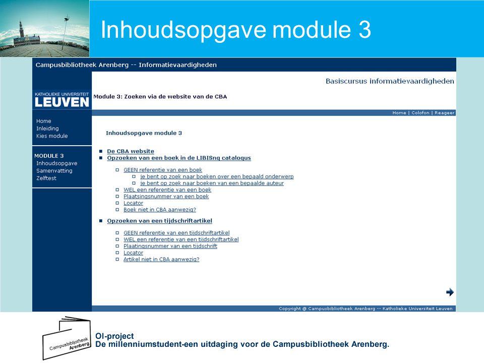 Inhoudsopgave module 3