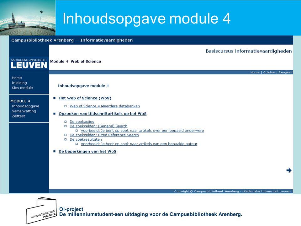 Inhoudsopgave module 4