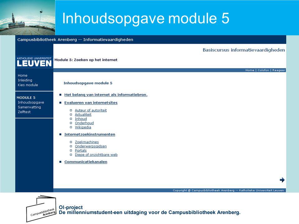 Inhoudsopgave module 5