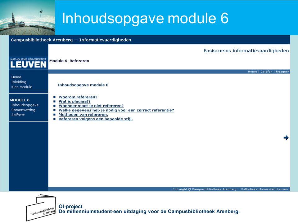 Inhoudsopgave module 6