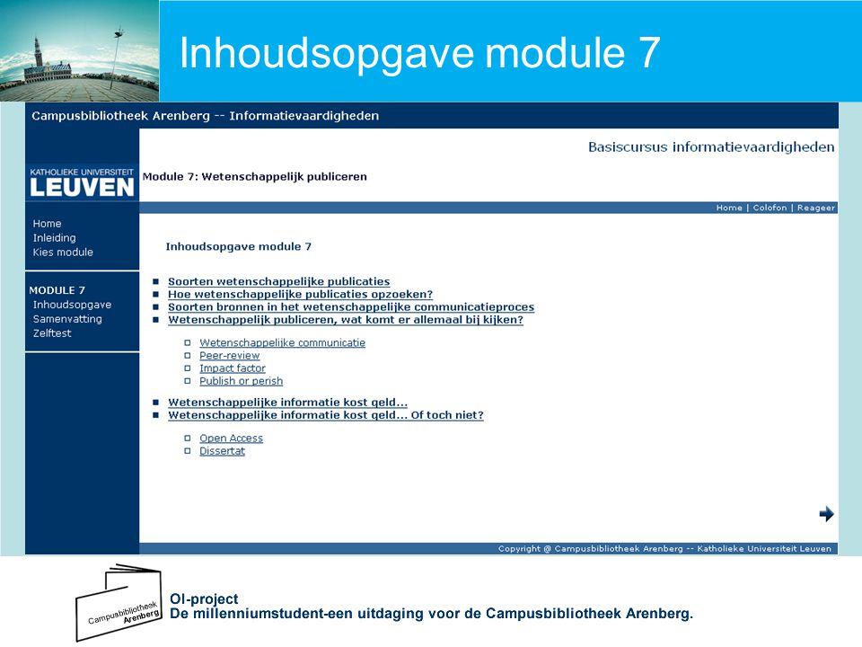 Inhoudsopgave module 7