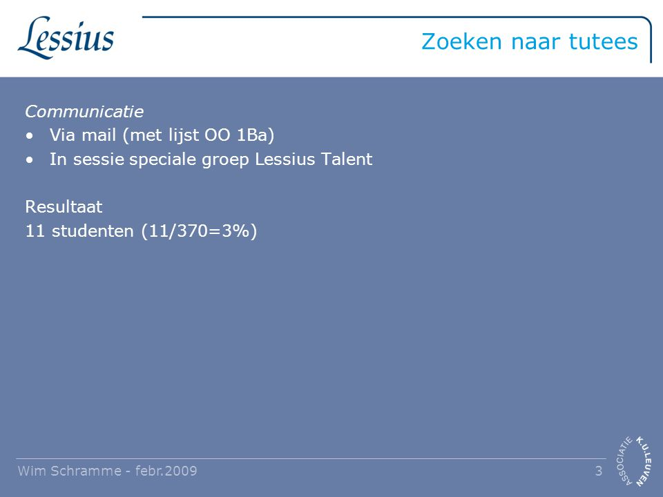 Zoeken naar tutees Communicatie Via mail (met lijst OO 1Ba) In sessie speciale groep Lessius Talent Resultaat 11 studenten (11/370=3%) Wim Schramme -