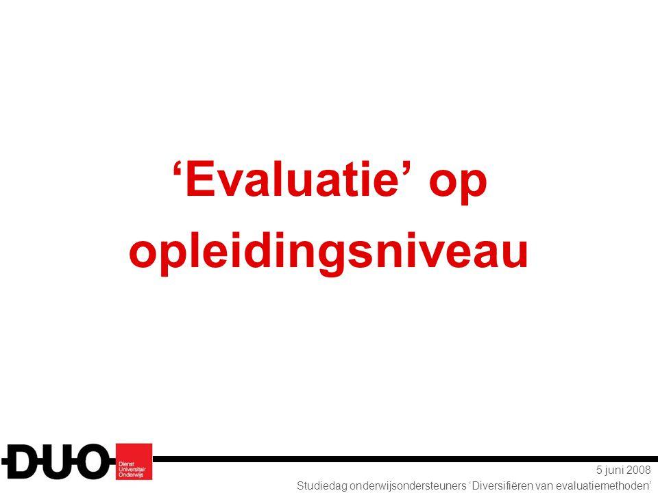 5 juni 2008 Studiedag onderwijsondersteuners 'Diversifiëren van evaluatiemethoden' 'Evaluatie' op opleidingsniveau