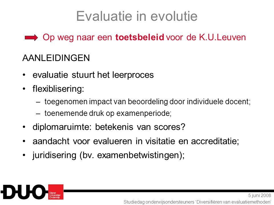 5 juni 2008 Studiedag onderwijsondersteuners 'Diversifiëren van evaluatiemethoden' Evaluatie in evolutie Op weg naar een toetsbeleid voor de K.U.Leuve