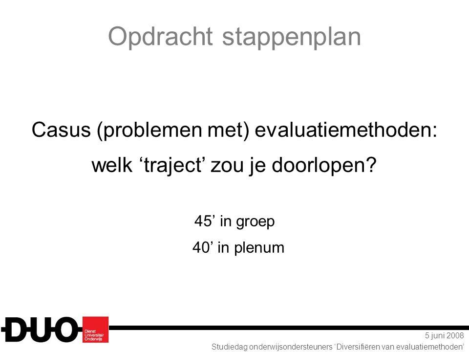 5 juni 2008 Studiedag onderwijsondersteuners 'Diversifiëren van evaluatiemethoden' Opdracht stappenplan Casus (problemen met) evaluatiemethoden: welk