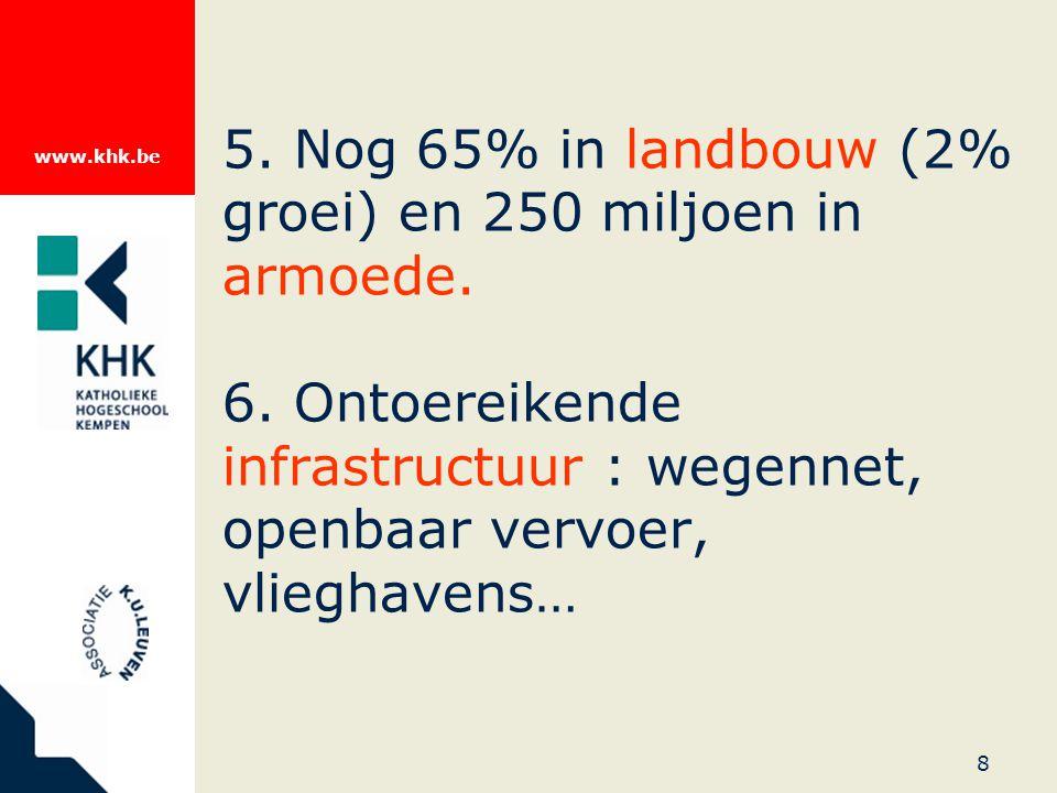 www.khk.be 8 5. Nog 65% in landbouw (2% groei) en 250 miljoen in armoede.