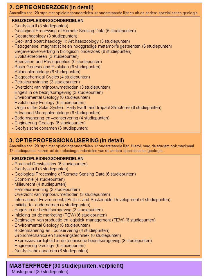 2. OPTIE ONDERZOEK (in detail) Aanvullen tot 120 stpn met opleidingsonderdelen uit onderstaande lijst en uit de andere specialisaties geologie. 3. OPT