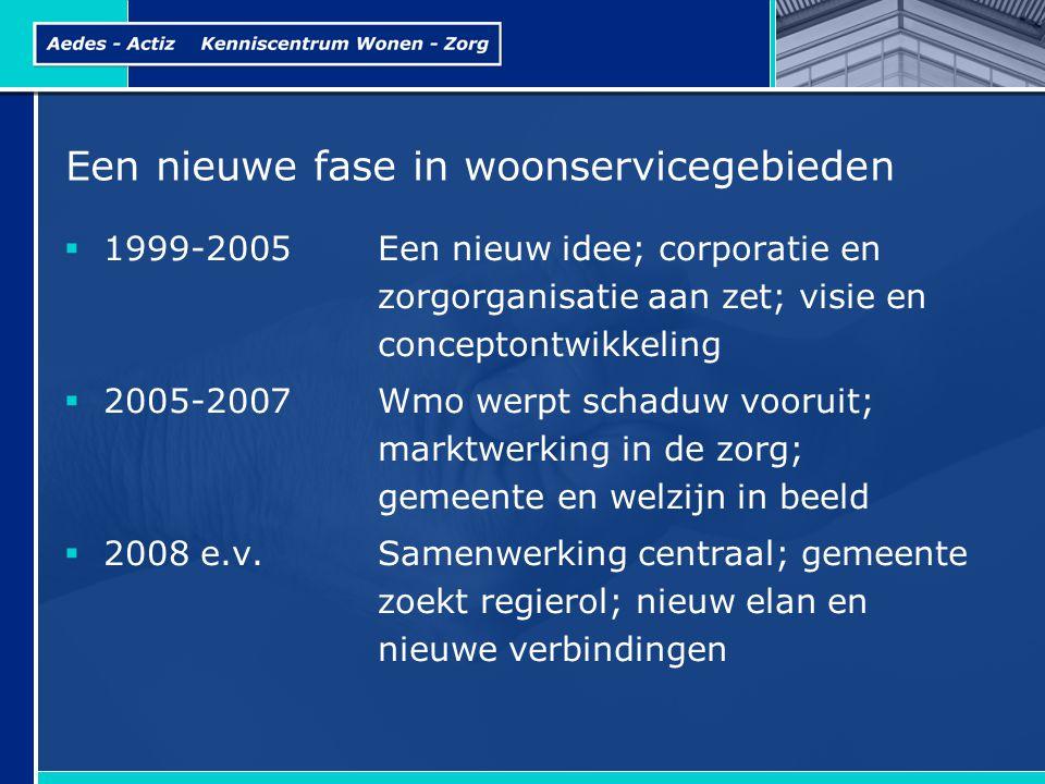 Een nieuwe fase in woonservicegebieden  1999-2005Een nieuw idee; corporatie en zorgorganisatie aan zet; visie en conceptontwikkeling  2005-2007Wmo w