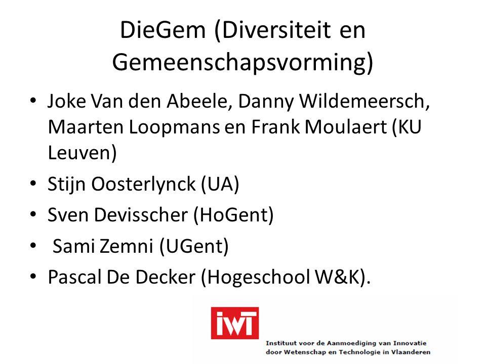 DieGem (Diversiteit en Gemeenschapsvorming) Joke Van den Abeele, Danny Wildemeersch, Maarten Loopmans en Frank Moulaert (KU Leuven) Stijn Oosterlynck (UA) Sven Devisscher (HoGent) Sami Zemni (UGent) Pascal De Decker (Hogeschool W&K).