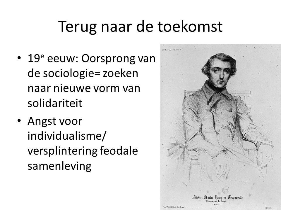 Terug naar de toekomst 19 e eeuw: Oorsprong van de sociologie= zoeken naar nieuwe vorm van solidariteit Angst voor individualisme/ versplintering feodale samenleving