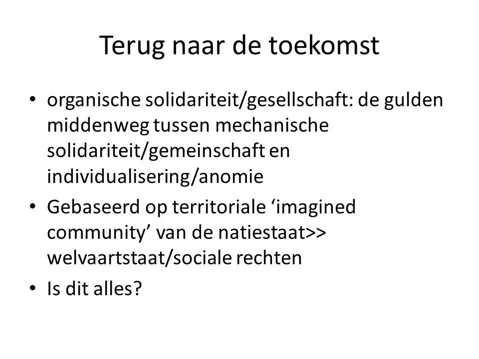 Terug naar de toekomst organische solidariteit/gesellschaft: de gulden middenweg tussen mechanische solidariteit/gemeinschaft en individualisering/ano