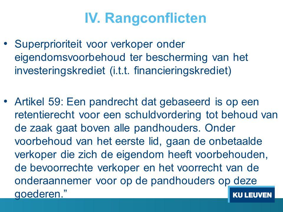 IV. Rangconflicten Superprioriteit voor verkoper onder eigendomsvoorbehoud ter bescherming van het investeringskrediet (i.t.t. financieringskrediet) A