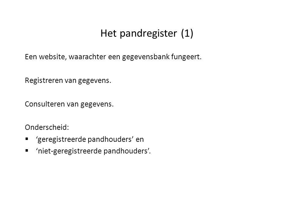 Het pandregister (1) Een website, waarachter een gegevensbank fungeert. Registreren van gegevens. Consulteren van gegevens. Onderscheid:  'geregistre