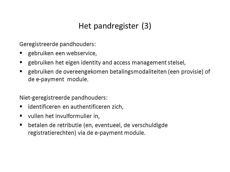 Het pandregister (3) Geregistreerde pandhouders:  gebruiken een webservice,  gebruiken het eigen identity and access management stelsel,  gebruiken