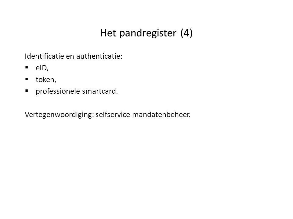 Het pandregister (4) Identificatie en authenticatie:  eID,  token,  professionele smartcard. Vertegenwoordiging: selfservice mandatenbeheer.