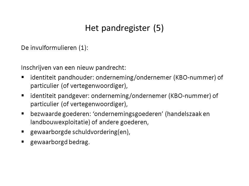 Het pandregister (5) De invulformulieren (1): Inschrijven van een nieuw pandrecht:  identiteit pandhouder: onderneming/ondernemer (KBO-nummer) of par
