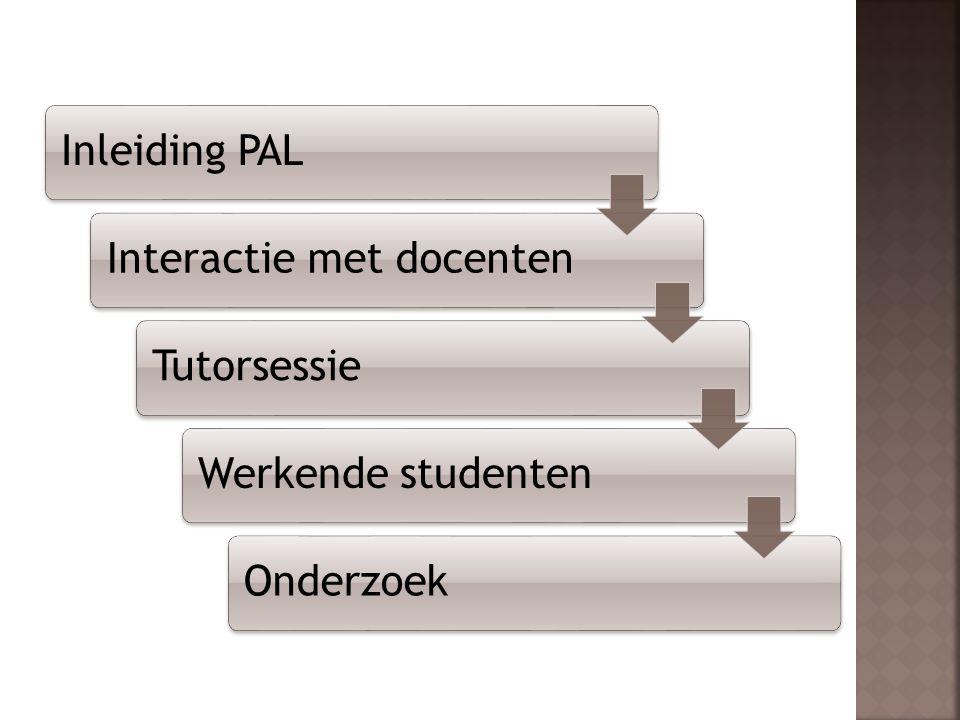 Inleiding PALInteractie met docentenTutorsessieWerkende studentenOnderzoek