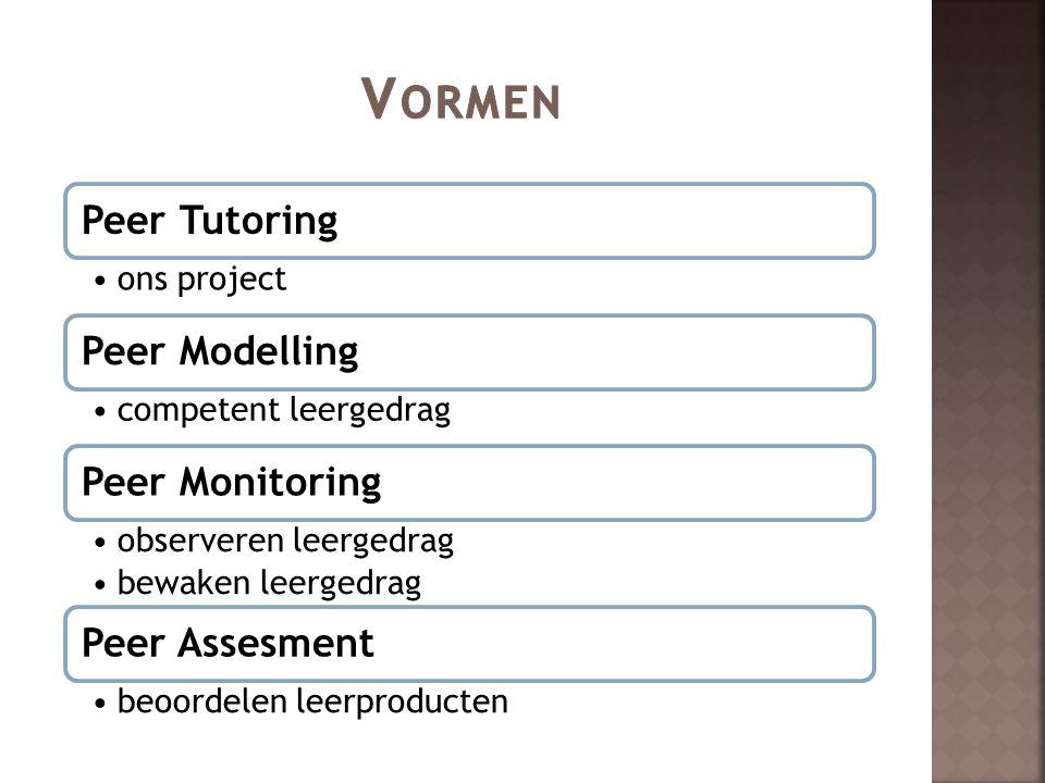 Peer Tutoring ons project Peer Modelling competent leergedrag Peer Monitoring observeren leergedrag bewaken leergedrag Peer Assesment beoordelen leerp