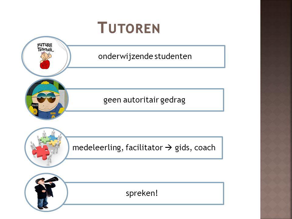 onderwijzende studenten geen autoritair gedrag medeleerling, facilitator  gids, coach spreken!