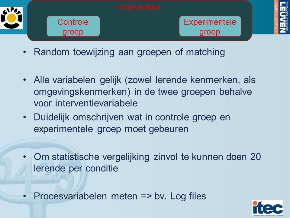 Random toewijzing aan groepen of matching Alle variabelen gelijk (zowel lerende kenmerken, als omgevingskenmerken) in de twee groepen behalve voor interventievariabele Duidelijk omschrijven wat in controle groep en experimentele groep moet gebeuren Om statistische vergelijking zinvol te kunnen doen 20 lerende per conditie Procesvariabelen meten => bv.