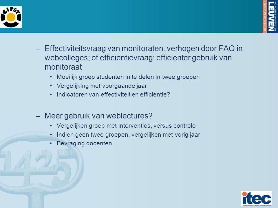 –Effectiviteitsvraag van monitoraten: verhogen door FAQ in webcolleges; of efficientievraag: efficienter gebruik van monitoraat Moeilijk groep studenten in te delen in twee groepen Vergelijking met voorgaande jaar Indicatoren van effectiviteit en efficientie.