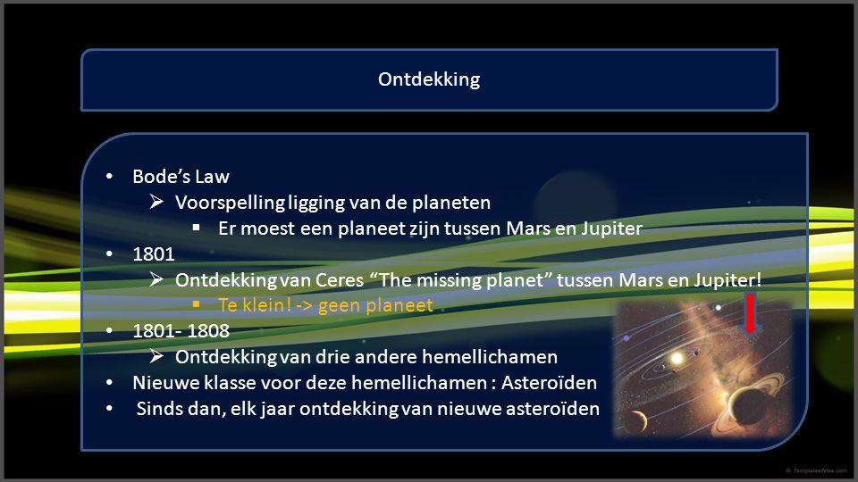 """Ontdekking Bode's Law  Voorspelling ligging van de planeten  Er moest een planeet zijn tussen Mars en Jupiter 1801  Ontdekking van Ceres """"The missi"""