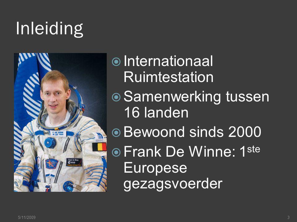 Inleiding  Internationaal Ruimtestation  Samenwerking tussen 16 landen  Bewoond sinds 2000  Frank De Winne: 1 ste Europese gezagsvoerder 5/11/20093