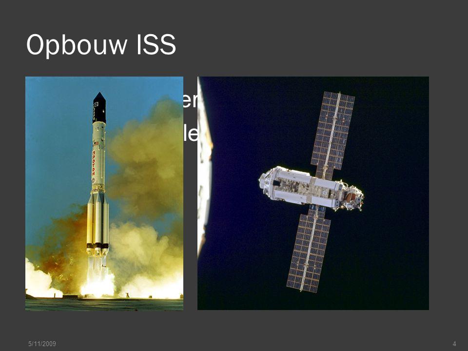 Opbouw ISS  Bestaat uit verschillende modules  Eerste module gelanceerd in 1998 5/11/20094