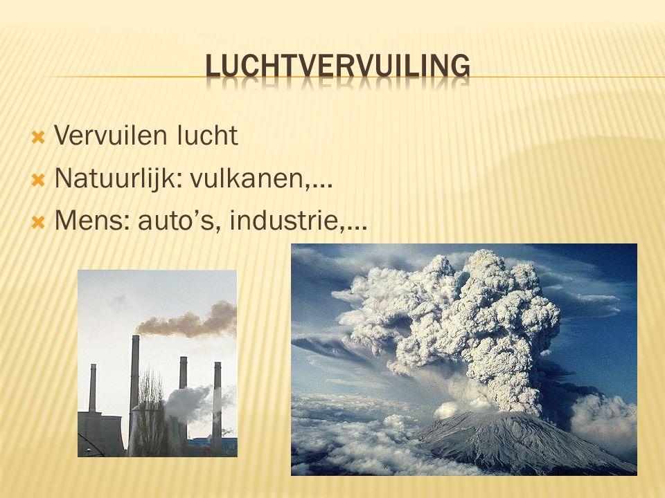  Vervuilen lucht  Natuurlijk: vulkanen,…  Mens: auto's, industrie,…