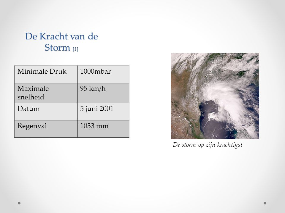 De Kracht van de Storm [1] De storm op zijn krachtigst Minimale Druk1000mbar Maximale snelheid 95 km/h Datum5 juni 2001 Regenval1033 mm