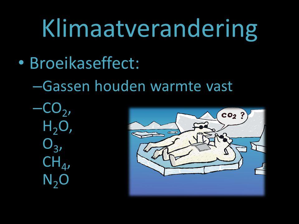 Klimaatverandering Broeikaseffect: – Gassen houden warmte vast – CO 2, H 2 O, O 3, CH 4, N 2 O