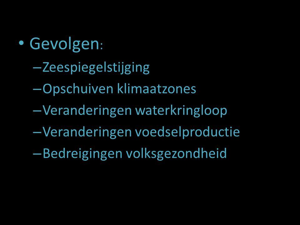 Gevolgen : – Zeespiegelstijging – Opschuiven klimaatzones – Veranderingen waterkringloop – Veranderingen voedselproductie – Bedreigingen volksgezondhe
