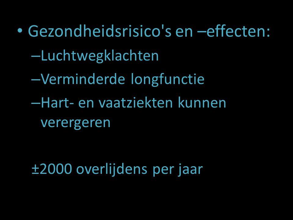 Gezondheidsrisico's en –effecten: – Luchtwegklachten – Verminderde longfunctie – Hart- en vaatziekten kunnen verergeren ±2000 overlijdens per jaar