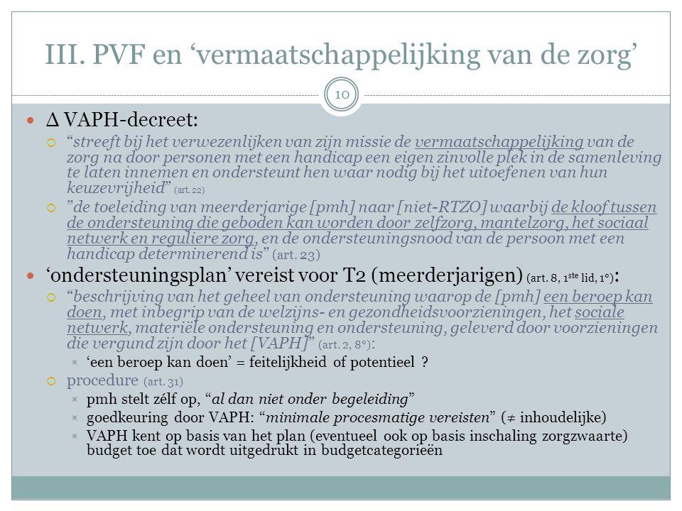 """III. PVF en 'vermaatschappelijking van de zorg' Δ VAPH-decreet:  """"streeft bij het verwezenlijken van zijn missie de vermaatschappelijking van de zorg"""