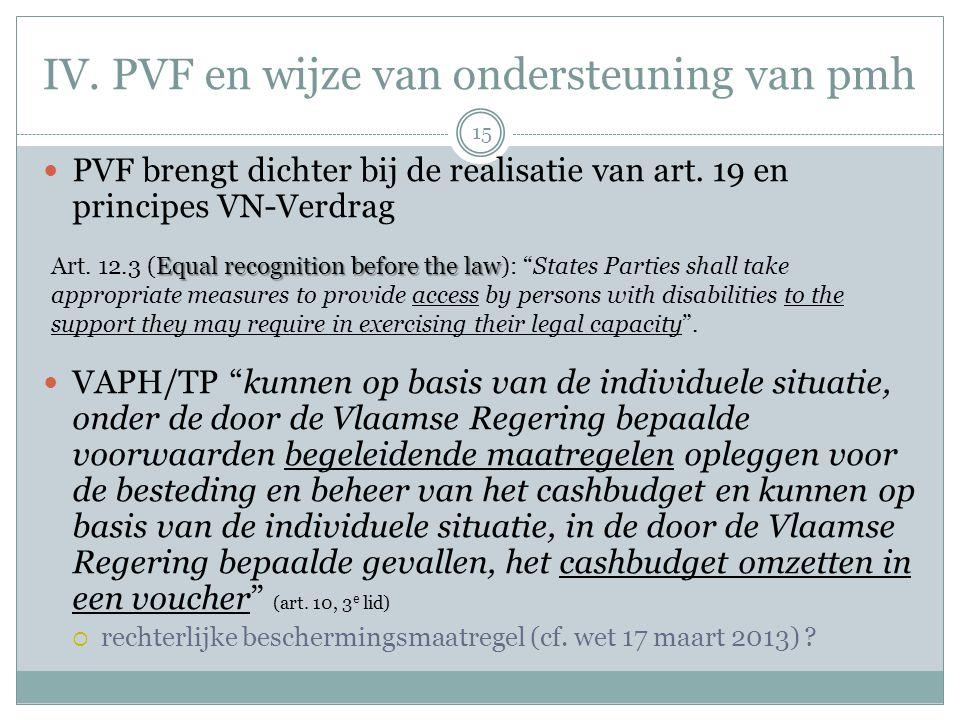 """IV. PVF en wijze van ondersteuning van pmh PVF brengt dichter bij de realisatie van art. 19 en principes VN-Verdrag VAPH/TP """"kunnen op basis van de in"""