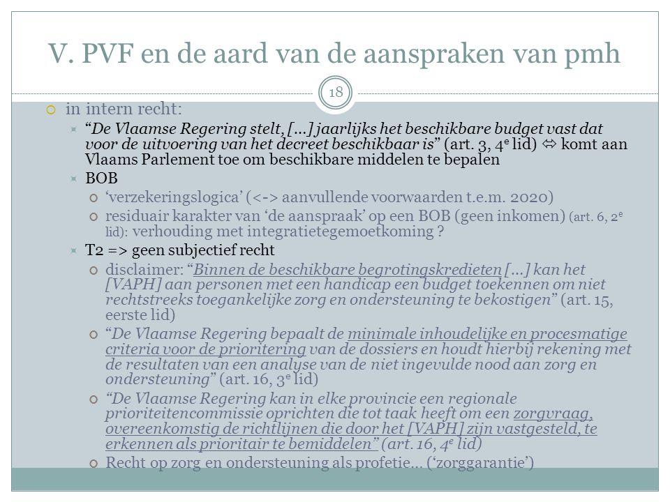 """V. PVF en de aard van de aanspraken van pmh  in intern recht:  """"De Vlaamse Regering stelt, […] jaarlijks het beschikbare budget vast dat voor de uit"""