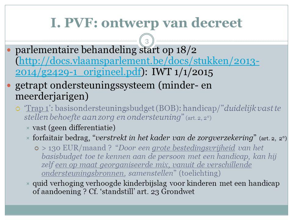 I. PVF: ontwerp van decreet parlementaire behandeling start op 18/2 (http://docs.vlaamsparlement.be/docs/stukken/2013- 2014/g2429-1_origineel.pdf): IW