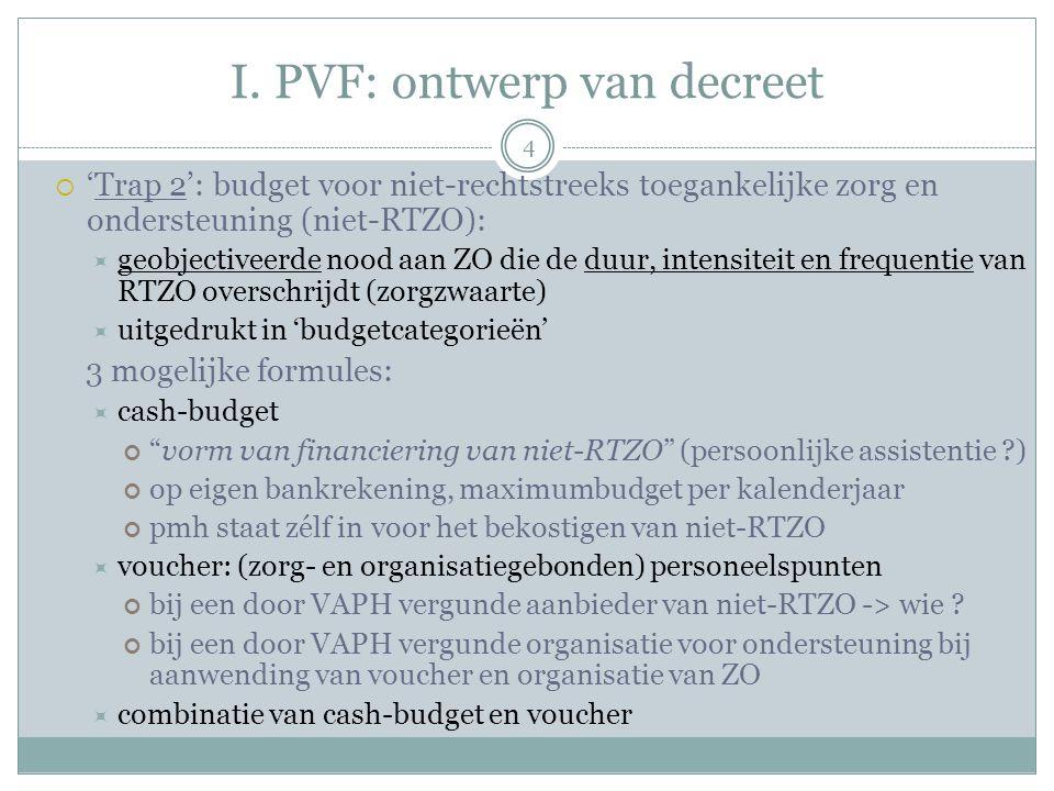 I. PVF: ontwerp van decreet  'Trap 2': budget voor niet-rechtstreeks toegankelijke zorg en ondersteuning (niet-RTZO):  geobjectiveerde nood aan ZO d