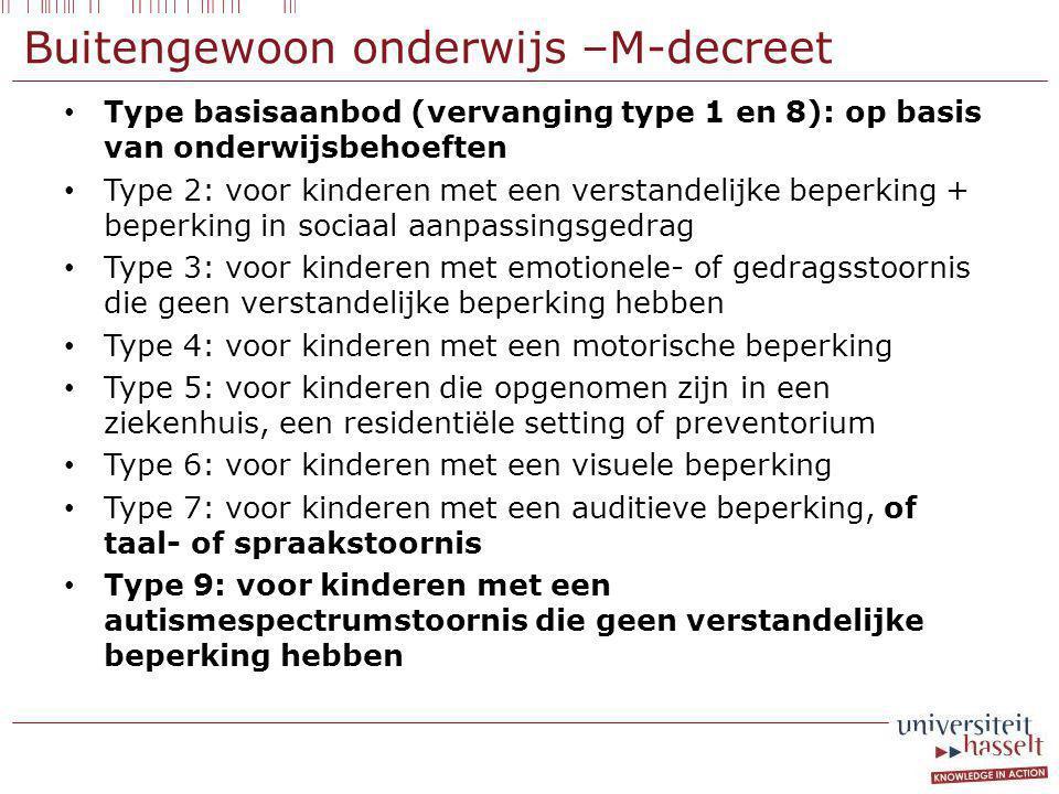 Buitengewoon onderwijs –M-decreet Type basisaanbod (vervanging type 1 en 8): op basis van onderwijsbehoeften Type 2: voor kinderen met een verstandelijke beperking + beperking in sociaal aanpassingsgedrag Type 3: voor kinderen met emotionele- of gedragsstoornis die geen verstandelijke beperking hebben Type 4: voor kinderen met een motorische beperking Type 5: voor kinderen die opgenomen zijn in een ziekenhuis, een residentiële setting of preventorium Type 6: voor kinderen met een visuele beperking Type 7: voor kinderen met een auditieve beperking, of taal- of spraakstoornis Type 9: voor kinderen met een autismespectrumstoornis die geen verstandelijke beperking hebben