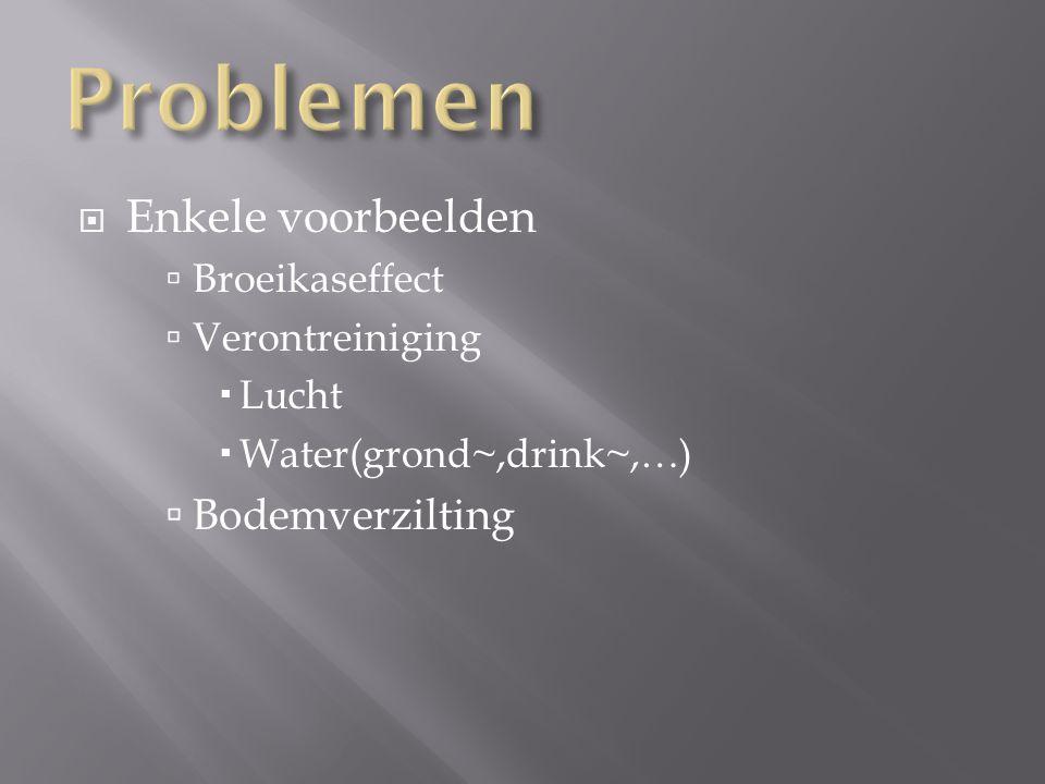  Enkele voorbeelden  Broeikaseffect  Verontreiniging  Lucht  Water(grond~,drink~,…)  Bodemverzilting