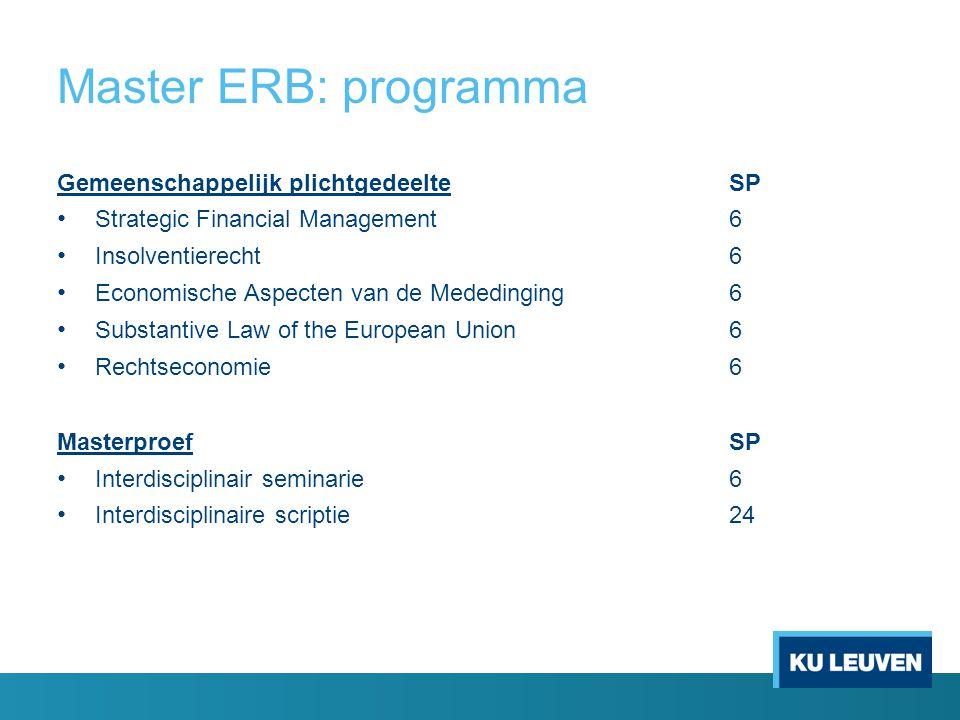 Master ERB: programma Gemeenschappelijk plichtgedeelteSP Strategic Financial Management6 Insolventierecht6 Economische Aspecten van de Mededinging6 Su