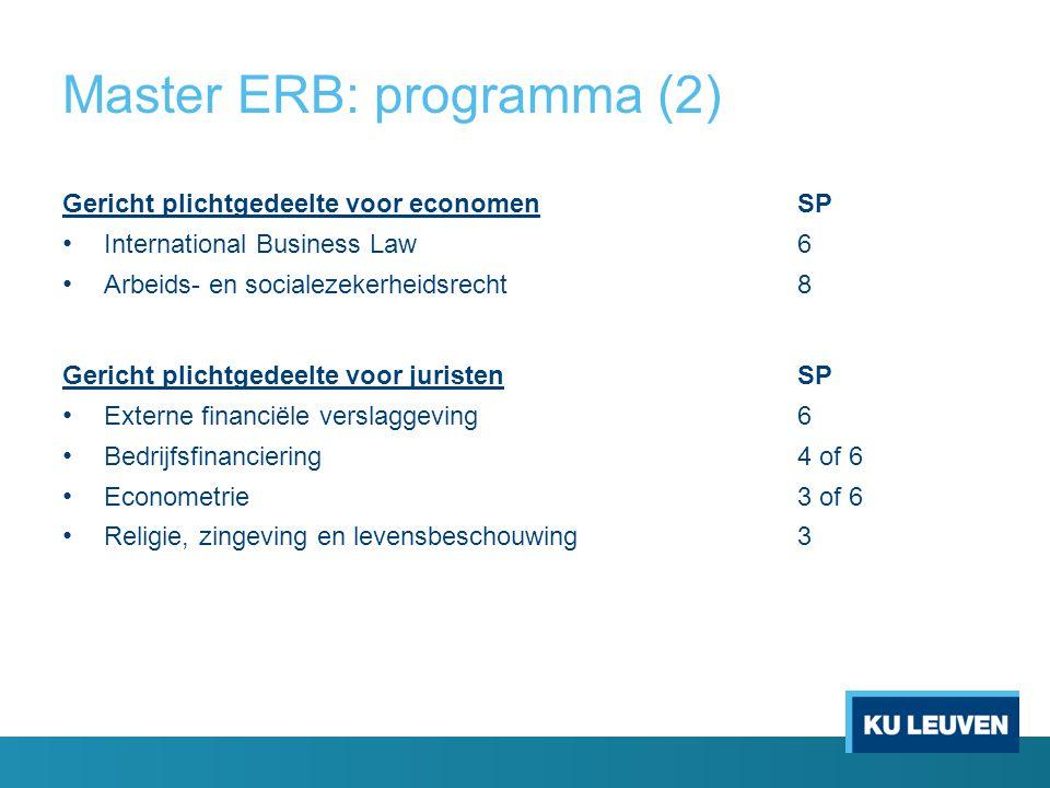 Master ERB: programma (2) Gericht plichtgedeelte voor economenSP International Business Law6 Arbeids- en socialezekerheidsrecht8 Gericht plichtgedeelt