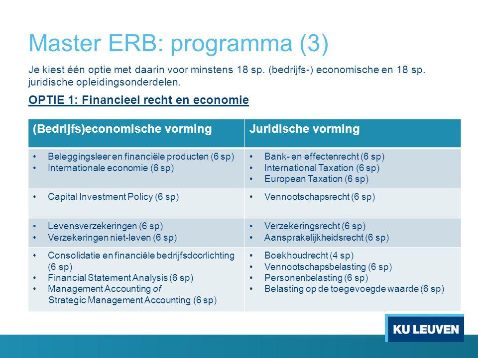 Master ERB: programma (3) Je kiest één optie met daarin voor minstens 18 sp. (bedrijfs-) economische en 18 sp. juridische opleidingsonderdelen. OPTIE