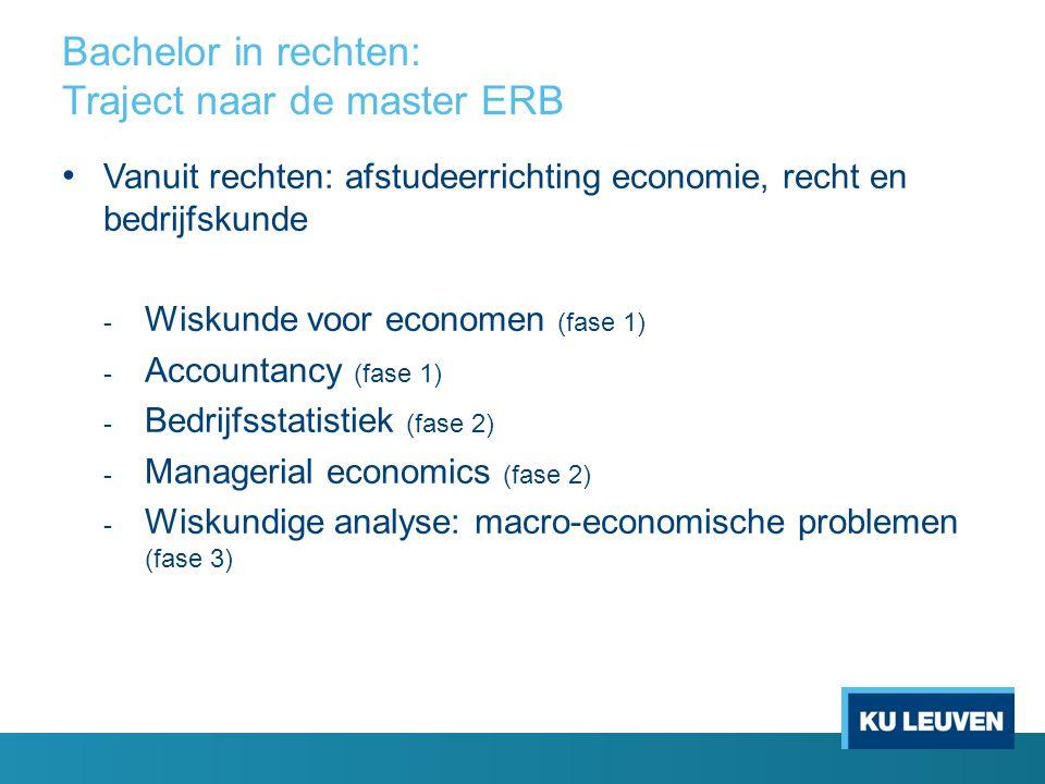 Voorbeeldtraject Master ERB voor studenten met een (bedrijfs)economische vooropleiding Optie Bedrijfsrecht en -strategie Seminarie (3 sp.) Rechtseconomie (6 sp.) Insolventierecht (6 sp.) Strategic Financial Management (6 sp.) International Business Law (6 sp.) Seminarie (3 sp.) Substantive Law of the European Union (6 sp.) Economische aspecten van de mededinging (6 sp.) Arbeids- en socialezekerheidsrecht (8 sp.) Economics of Global Innovation (6 sp.) Scriptie (12 sp.) International Management (6 sp.) Marktrecht (6 sp.) The foundations of Entrepreneurship (6 sp.) Initiatie tot ondernemen (2 sp.) Scriptie (12 sp.) Economic Aspects of European Integration (6 sp) Intellectuele rechten (6 sp.) Arbeidsverhoudingen- recht (6 sp.) Initiatie tot ondernemen (2 sp.) Eerste fase: Eerste semester (27 studiepunten) Eerste fase: Tweede semester (29 studiepunten) Tweede fase: Eerste semester (32 studiepunten) Tweede fase: Tweede semester (32 studiepunten)