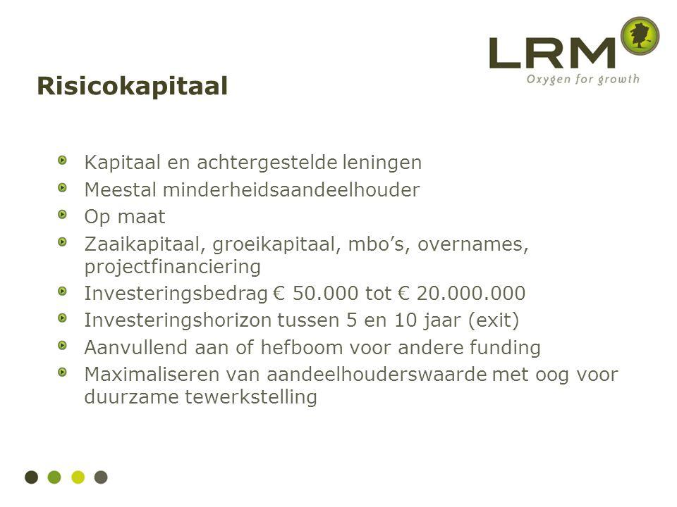 Kapitaal en achtergestelde leningen Meestal minderheidsaandeelhouder Op maat Zaaikapitaal, groeikapitaal, mbo's, overnames, projectfinanciering Invest