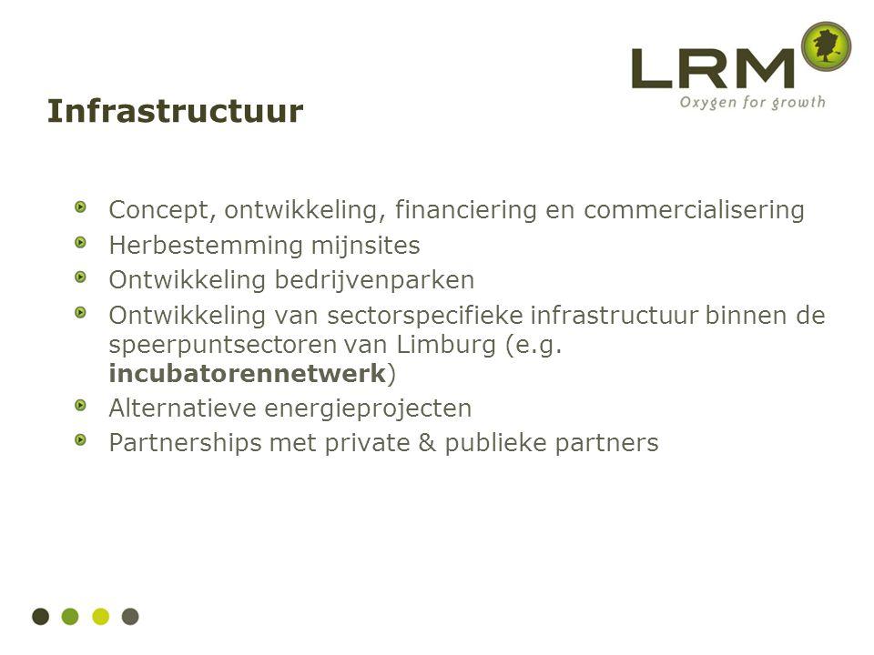 Concept, ontwikkeling, financiering en commercialisering Herbestemming mijnsites Ontwikkeling bedrijvenparken Ontwikkeling van sectorspecifieke infras